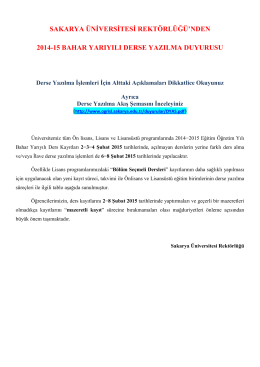 2014-2015 eğitim öğretim yılı bahar dönemi derse yazılma duyurusu