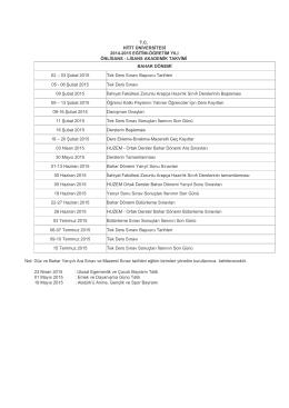 akademik takvim - Hitit Üniversitesi