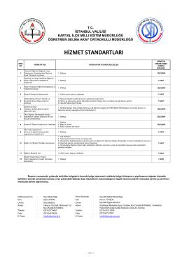hizmet standartları - Milli Eğitim Bakanlığı