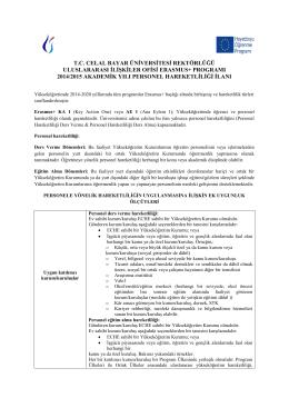 2014-2015 Erasmus + Personel Hareketliliği İlanı