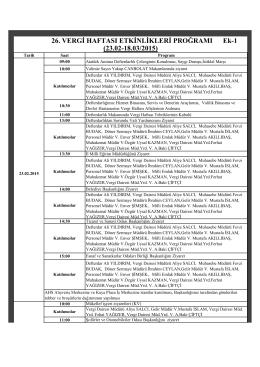 1 Mart 26. Vergi Haftası Programı