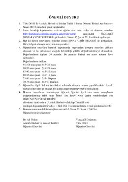 ÖNEMLİ DUYURU (Yeni) 17.02.2015