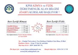 Kpss Kimya ve Fizik Öğretmenlik Alan Bilgisi (ÖABT)