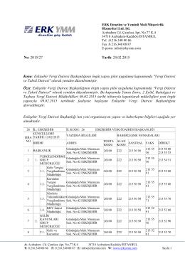 Eskişehir Vergi Dairesi Başkanlığının örgüt yapısı pilot