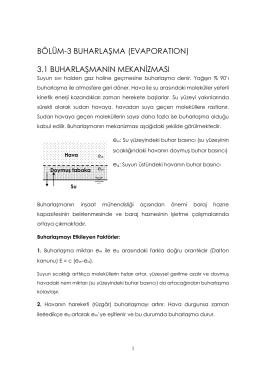 BÖLÜM-3 BUHARLAŞMA (EVAPORATION) 3.1 BUHARLAŞMANIN