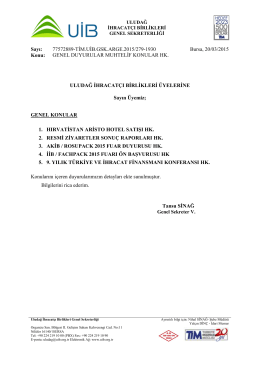 Genel Duyurular Muhtelif Konular 20.03.2015