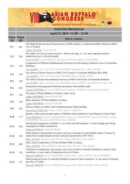 POSTER PROGRAM April 23, 2015 / 11:00 – 11:20