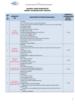 Amasra Liman Başkanlığı Hizmet Standartları Tablosu