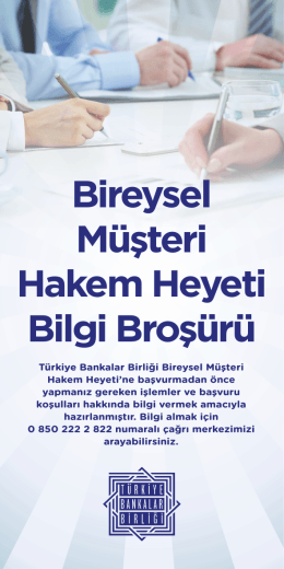 Bireysel Müşteri Hakem Heyeti Bilgi Broşürü