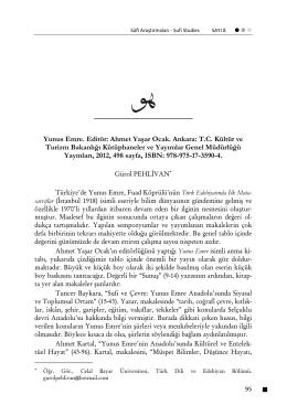 Yunus Emre. Editör - Sufi Araştırmaları Dergisi