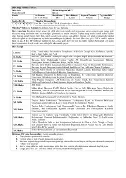 Ders Bilgi Formu (Türkçe) Ders Adı: Makro İktisat I Bölüm/Program