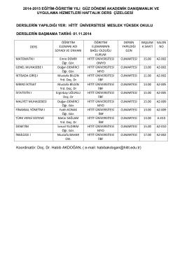 2014-2015 eğitim-öğretim yılı güz dönemi