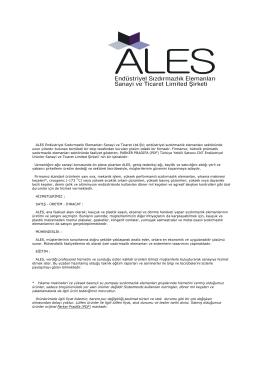 ALES Endüstriyel Sızdırmazlık Elemanları Sanayi ve Ticaret Ltd.Şti