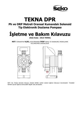 Seko Tekna DPR Serisi Pompa Talimatı
