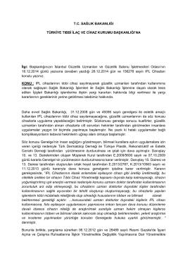 Türkiye İlaç ve Tıbbi Cihaz Kurumu Başkanlığı 26-12