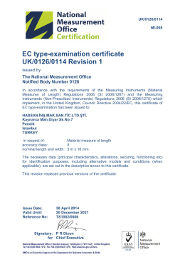 EC type-examination certificate UK/0126/0114 Revision 1