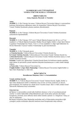 Yemek Yürütme Kurulu Yönergesi - Yıldırım Beyazıt Üniversitesi
