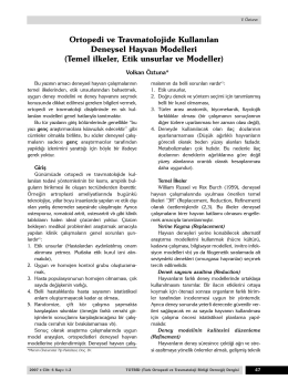 Ortopedi ve Travmatolojide Kullanılan Deneysel Hayvan Modelleri