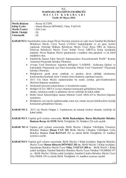 2014-01 Meclis Kararları - Marmara Belediyeler Birliği