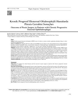 Kronik Progresif eksternal Oftalmoplejili Hastalarda Pitozis Cerrahisi