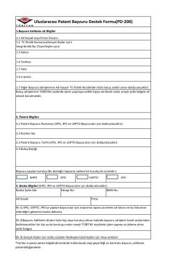Uluslararası Patent Başvuru Destek Formu(PD-200)
