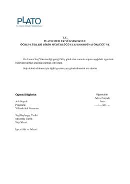 Formu İndir - Plato Meslek Yüksekokulu | Kariyer Merkezi