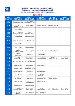 saınte pulcherıe fransız lisesi öğrenci temsilcisi aday listesi la lıste