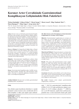 Koroner Arter Cerrahisinde Gastrointestinal