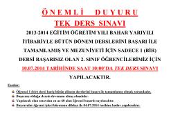 TEK DERS - ORTALAMA YÜKSELTME 2013-2014
