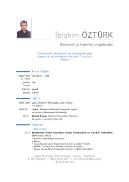 İbrahim ÖZTÜRK – Elektronik ve Haberleşme Mühendisi