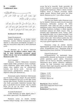 04.07.2014 - ramazan ve oruç