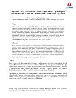 Doğrultucu Devre Elemanlarının Genetik Algoritmalarla Optimizasyonu