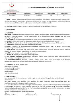 yön.pr.25 yazılı düzenlemelerin yönetimi prosedürü