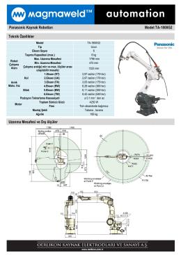 Panasonic Kaynak Robotları Model:TA-1800G2
