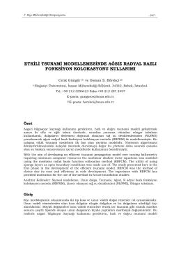 etkili tsunami modellemesinde ağsız radyal bazlı fonksiyon