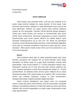 Prof.Dr.Bülent Soyupak Dr.Alper Eken TESTİS TÜMÖRLERİ Testis
