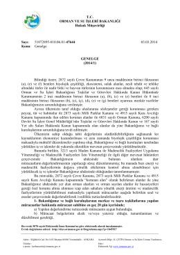 T.C. ORMAN VE SU İŞLERİ BAKANLIĞI Hukuk Müşavirliği Sayı