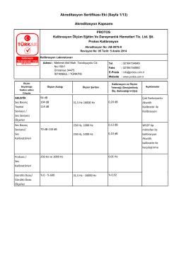 Akreditasyon Sertifikası Eki (Sayfa 1/13) Akreditasyon Kapsamı