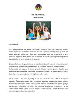Okula Uyum - TED Konya Koleji