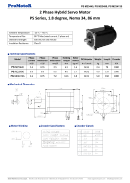 ProMotoR 2 Phase Hybrid Servo Motor PS Series, 1.8 degree