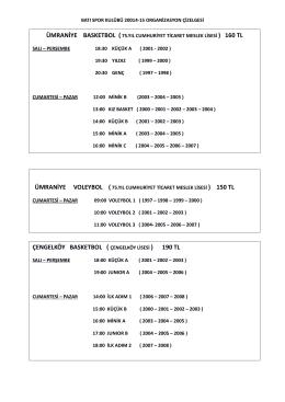 ümraniye voleybol ( çengelköy basketbol ( çengelköy lisesi ) 190 tl