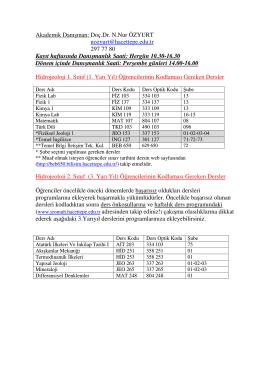 Hidrojeoloji Programi 1 ve 3. Dönem Ögrencileri için Bilgilendirme