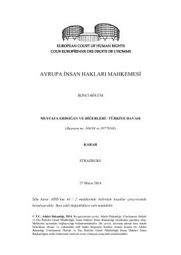 27 Mayıs 2014 tarihli Mustafa Erdoğan ve Digerleri v. Türkiye