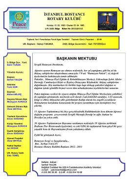 istanbul bostancı rotary kulübü başkanın mektubu