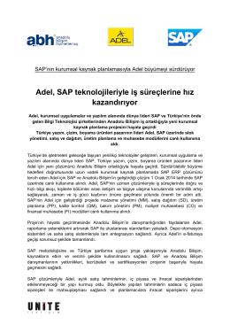 Adel Teknolojik Altyapısını SAP ve Anadolu Bilişim İle Güçlendiriyor