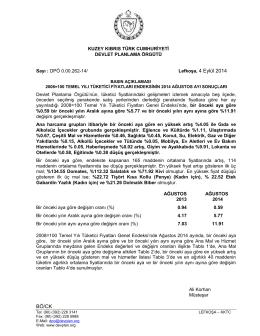 Lefkoşa, 4 Eylül 2014 BÖ/CK - KKTC Devlet Planlama Örgütü
