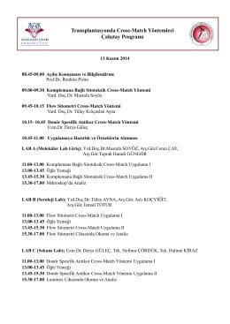 Transplantasyonda Cross-Match Yöntemleri Çalıştay Programı