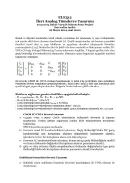 ELE512 İleri Analog Tümdevre Tasarımı