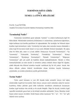 terminolojiye giriş ve temel latince bilgileri