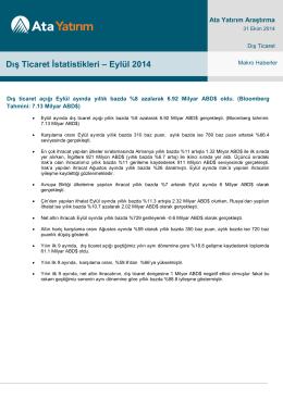 Dış Ticaret İstatistikleri – Eylül 2014